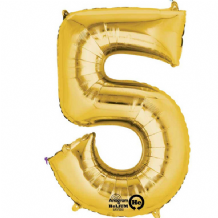 "Gold Number 5 Mini-Foil Balloon (16"" Air) 1pc"